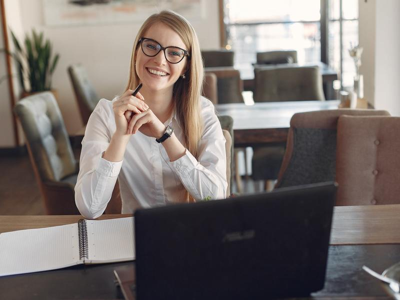 Cheerful Young Businesswoman In Eyeglasses During Remote 3874619 (1)
